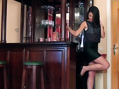 Leggy Lorena G fingers her hot pussy on a bar counter