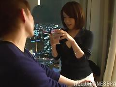 Petite Nozomi Hara fucks in a bedroom and then takes a shower