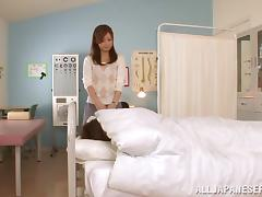 Rina Ishihara gets her hairy Japanese twat slammed in a hospital