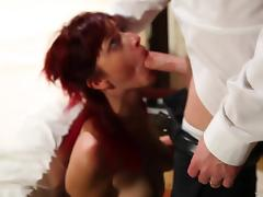 Redhead woman is so eager to enjoy her man