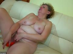 Granny masturbate with young couple on the bed
