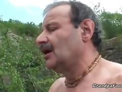 Superb babe rides grandpa's cock in nature tube porn video