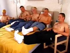 Five dudes jerk off their big dicks in the same room