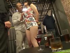 Busty Japanese bitch gets her mouth and cunt drilled in a cage