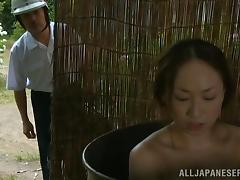 Japanese hottie gets her snatch fucked from behind in a shed