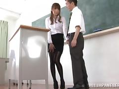 Japanese teacher Misa Yuki gives a stunning footjob in a classroom