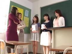 Teacher, Asian, Bra, College, Desk, Fingering