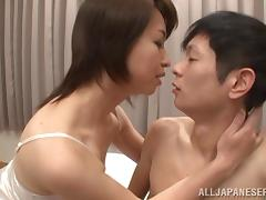 Kumi Kanzaki gets her hairy Asian cunt licked and fucked doggy style