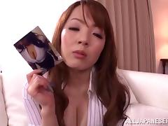 Huge-breasted Japanese milf lets a man play with her enormous tits