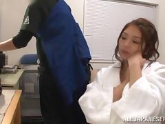 Beautiful Miku Hasegawa masturbates and sucks a guy off