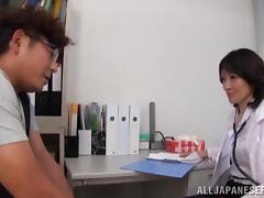 Lewd Japanese doctor rubs a cock and gets fucked in many positions