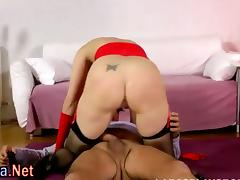 Stockings milf gets ass creampie