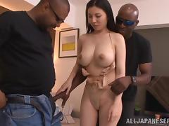 Busty Sophia Takigawa is going to have sex with two Blacks