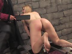 Danielle gets whipped and brutally fucked from behind