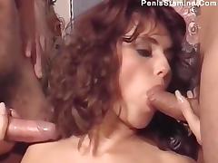 Italian slut Andrea Valente vintage threesom tube porn video