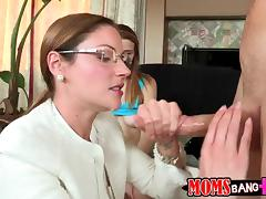 Sexy milf is going to teach her daughter and her BF how to fuck