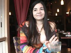 Delightful Nadine Flashes Her Boobs At A Restaurant