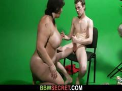Chubby brunette at the studio gets naked and bangs a cheater tube porn video