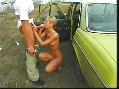 Young blonde with perfect perky tits gets a big cock in her ass outdoors