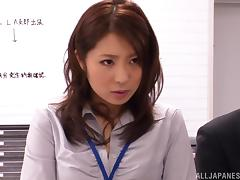 Tempting Asuka is a hot office gal in nasty group action tube porn video
