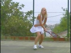 Two cute girls in tennis dresses have an amazing lesbian sex
