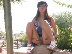 Spectacular Brunette Masturbates In Public Outdoors