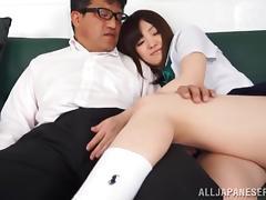 Very horny Japanese school girl is sucking it