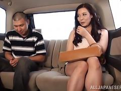 Dirty games in the car with a booty Japanese siren