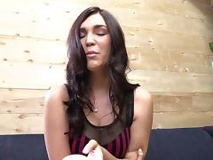 Sexy brunette Holly Michaels wipes cum off her belly after sex tube porn video
