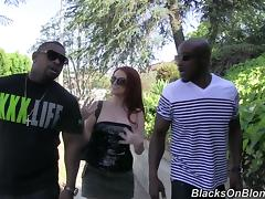 Redhead Double Penetrated by Two Black Guys