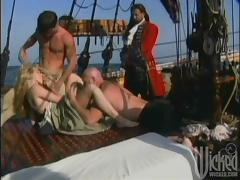 Poor chick is going to be fucked by three pirates