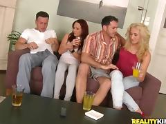 Stunning Coral And Her Slutty GF Have A Foursome With Two Guys tube porn video