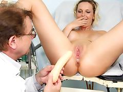 Czech blonde Gabriela cunt stretching therapy by weird doctor