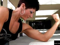 Allison Moyer Black Top Flexing Biceps