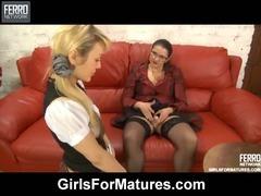 Emilia and Connie mature in lesbian