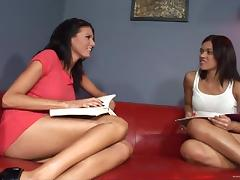 Pussy-eating scene with gorgeous brunettes Alyssa Reece and Sea J. Raw