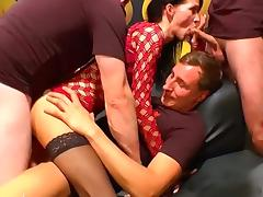 Brunette milf gets gang banged in all her holes.
