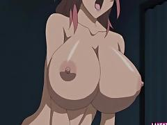 Busty hentai babe tittyfucks and rides cock