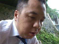 Japanese chick in outdoor sex tube porn video