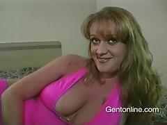 Busty cougar Julie J blows and enjoys it doggy style in POV clip