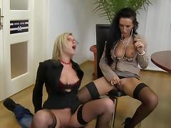 Sweet ffm fuck with two slutty secretaries