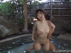 Horny Japanese angel gets fucked in the hot tub
