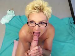 Sweet POV blowjob by an awesome blonde