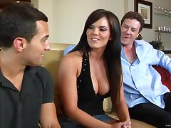 Curvy brunette Mackenzee Pierce moans sweetly during ardent DP tube porn video