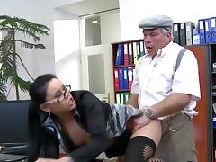 Sweet old man is fucking with young brunette tube porn video