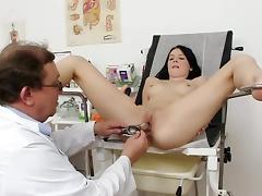 Teen brunette Lucianna Karel and her doc