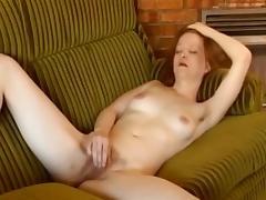 Lascivious redhead masturbator