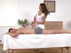 Hot Girl Massages a Guy and Lets Him Fuck Her Asshole