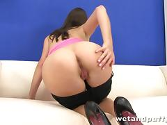 Silvia Luca uses clothespegs and a dildo in amazing solo sex clip