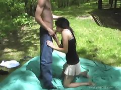 Hardcore in the woods with a charming brunette October Daring